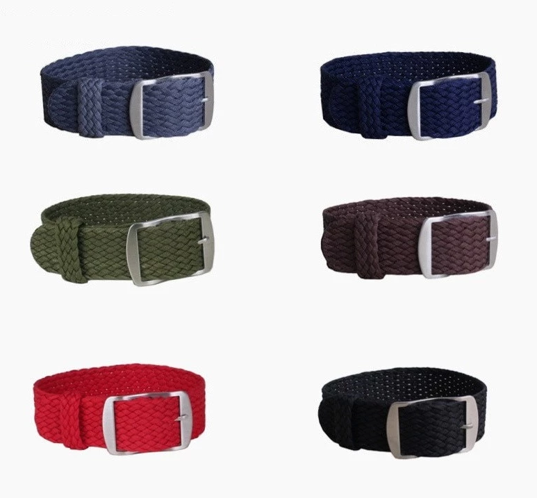 BOTTEGA Two-piece 14/16/18/20/22mm Perlon Nylon Weave Light Watch Strap Band 6 Colors