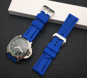BLUES Waterproof Rubber Watch Band for Panerai PAM Logo Buckle 22mm 24mm