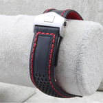 GRAIL 22mm Leather Watch Strap Band w/Logo For TAG Heuer Carrera Aquaracer