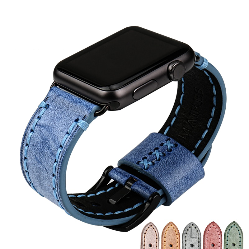 BONBON Premium Pastel Leather Watch Strap Band for 38/40/42/44mm Apple Watch 5 4 3 2 1