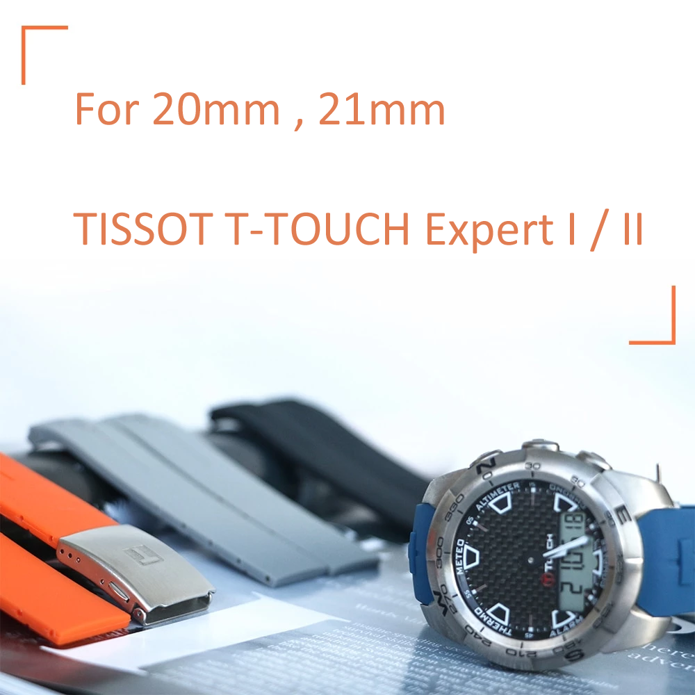 EXPERT 20mm 21mm Flex Silicone Waterproof Watch Band Strap For Tissot T-Touch I II T013 T047