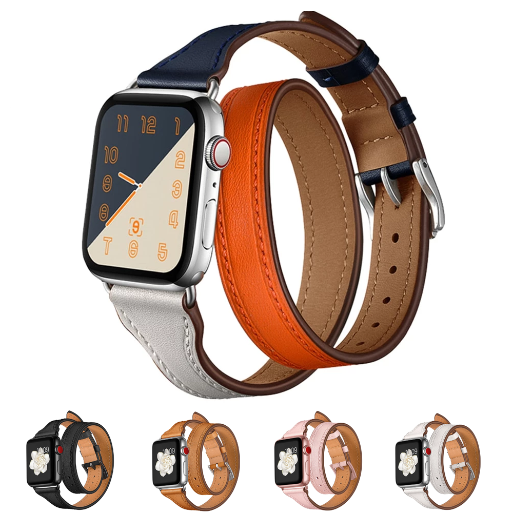 TAPER-CUT Elegant Double Tour Leather Watch Band Strap for 38/40/42/44mm Apple Watch 5 4 3 2 1