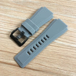 COCKPIT-G 24x34mm Dustproof Gray Soft Rubber Watch Band For Bell & Ross BR-01 BR-03