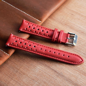 VINTAGE 18/19/20/22/24mm Handmade Real Leather Porous Watch Strap Band