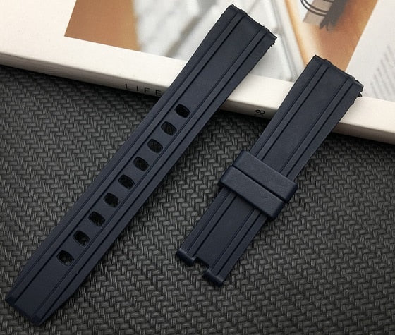 AXIALSMP Silicone Rubber Watch Band Strap 20mm for New Omega Seamaster 300 w/Logo