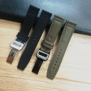PILOT 20mm 21mm 22mm Textile Leather Watch Band Strap For IWC Mark Portugieser Chronograph