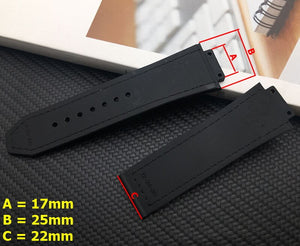 BLACK Series Leather Stitched Rubber 25x17mm Watch Strap Band for Hublot Big Bang Fusion