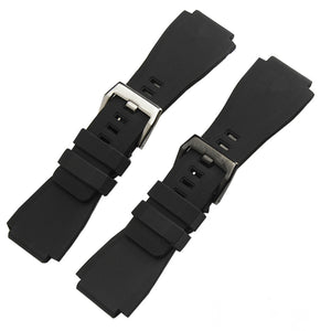 COCKPIT 24x34mm Dustproof Black Soft Rubber Watch Band For Bell & Ross BR-01 BR-03