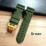 CHOUC-B 24mm 26mm Rubber Folding Clasp w/Logo Watch Band For Panerai PAM