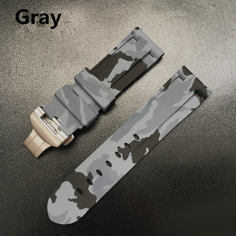 HYDRA-B Camo Rubber Folding Clasp 24mm Watch Band Strap For 44mm Panerai Pam