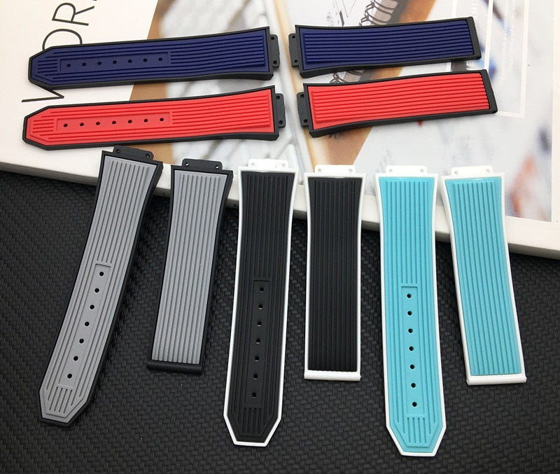 FLUO Two-Tone Natural Rubber Watch Band Strap for 45mm Hublot Big Bang Fusion 26x17mm