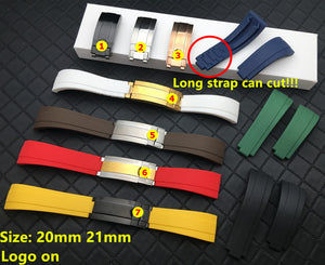 YACHT-M 20mm 21mm Silicone Rubber Watch Band Strap For Daytona Submariner GMT Datejust