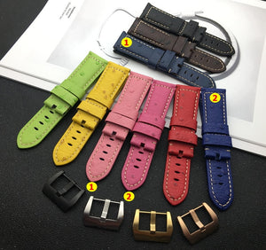 OSTRICH Italy Calf Leather Watch Band Strap for Panerai PAM w/Logo 22mm 24mm
