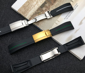 DWELLER 21mm Black Rubber Watch Band Strap For Daytona Submariner GMT Datejust