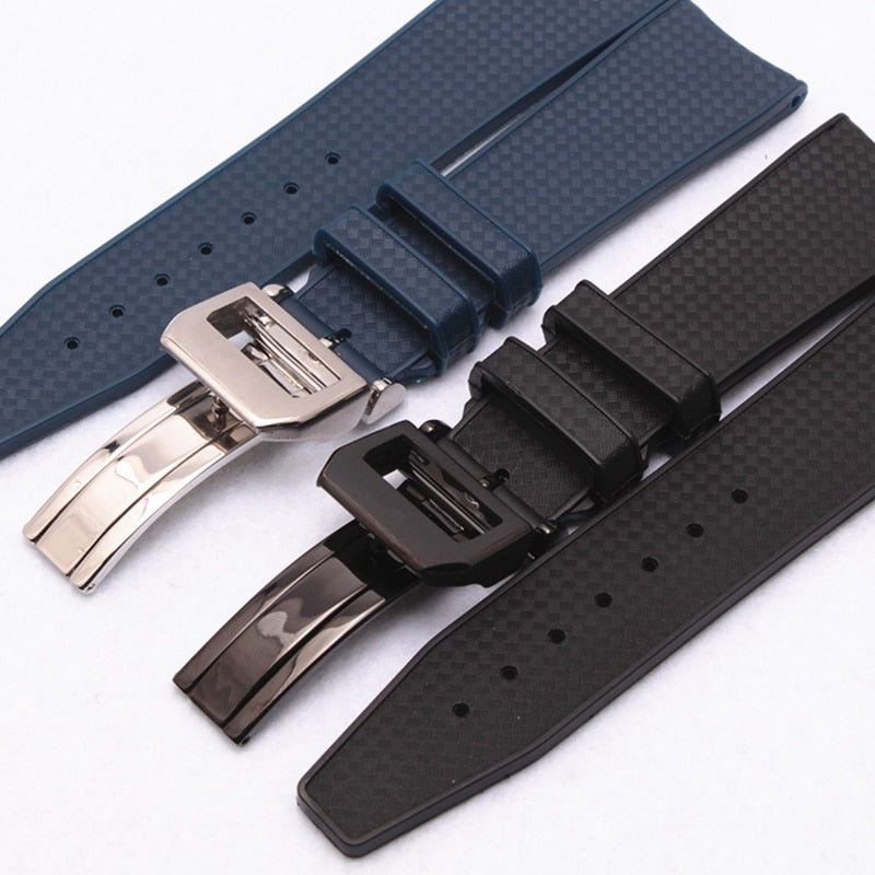 HAUTE 22mm Luxury Soft Rubber Watch Band Strap w/Logo For IWC Pilot Portugieser