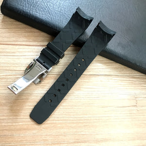CALIBRE 22mm Soft Rubber Curved End Watch Band For IWC Portugieser Yacht Club Chronograph