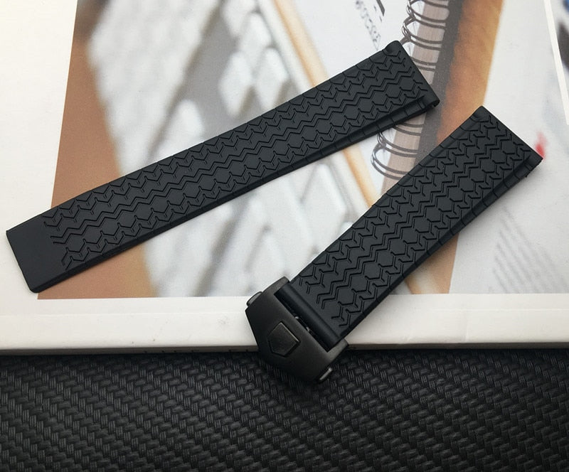FIRENZE 22mm Natural Soft Rubber Watch Strap Band w/Logo For TAG Heuer Carrera Aquaracer Formula