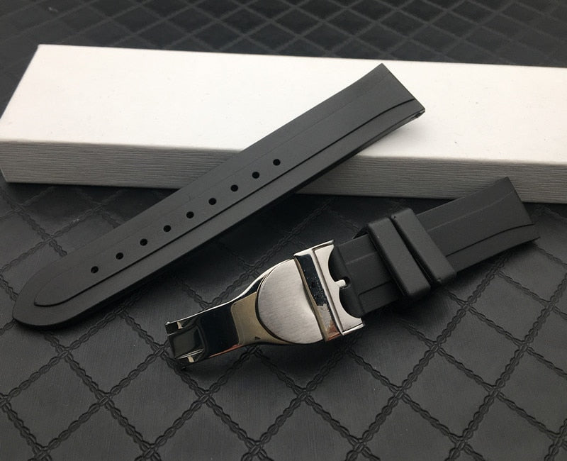 GENEVE 20mm 22mm Black Waterproof Rubber Watch Band Strap For Tudor w/Logo
