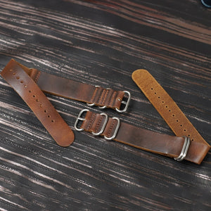 NAT-OS Aged Design 18/20/22/24mm Brown Cow Leather Watch Strap Band 5-Rings