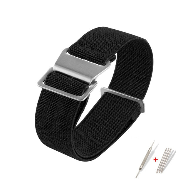 PARACHUTE Braid French Navy MN Style Elastic Nylon Watch Strap Belt 19mm 20mm 21mm 22mm