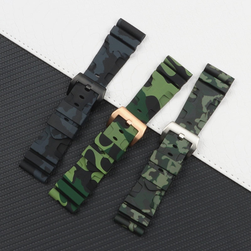 RADIOACTIVE 24mm 26mm Camo Series Silicone Rubber Watch Band Strap For Panerai/Pam