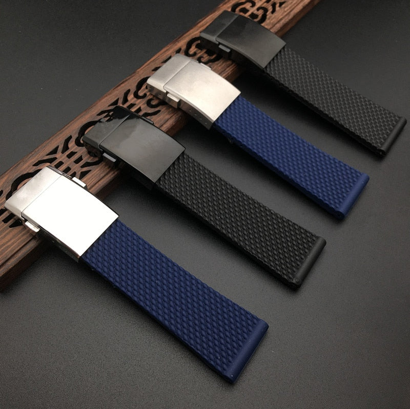 BREITMESH 22mm 24mm Natural Rubber Watch Band Strap for Breitling Avenger Navitimer SuperOcean
