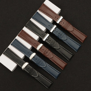 BREITGER 22mm 24mm Premium Leather Watch Band Strap for Breitling Navitimer Avenger w/Logo