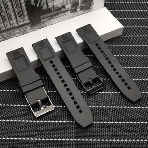 BREITROUGE 22mm Black Silicone Rubber Watch Band Strap for Breitling Navitimer Avenger w/Logo