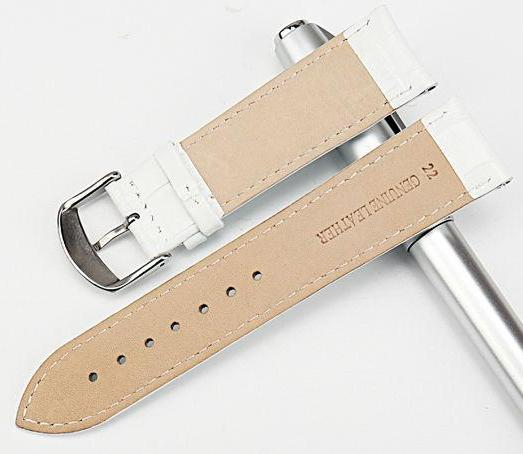 ANGELIC Pearl White Genuine Cow Leather Glossy Watch Band Strap 12mm to 22mm