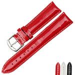 MEGAN Glossy Red Genuine Leather Watch Band Strap 12mm-20mm 3 Colors