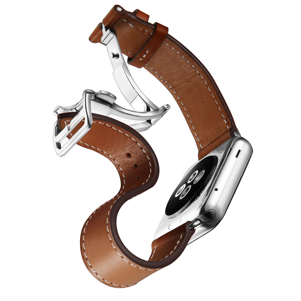 HERMES-Inspired Single Tour Leather Deployment Band Strap for 38/40/42/44mm Apple Watch 5 4 3 2 1