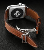 HERMES-Inspired Single Tour Leather Deployment Band Strap for 38/40/42/44mm Apple Watch 4 3 2 1