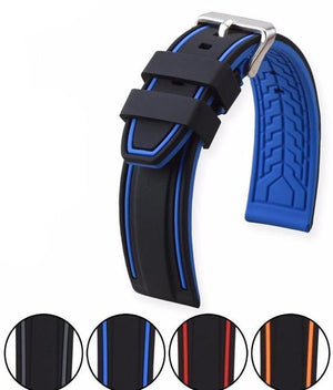 GOODYEAR Silicone Diver Watch Band Strap Stainless Steel Buckle 20mm to 26mm