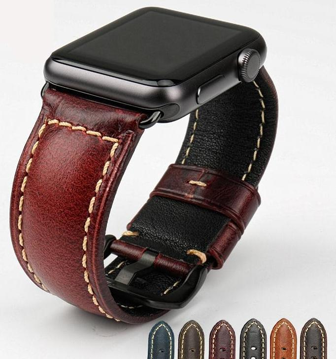 REDWING-Inspired Genuine Leather Watch Strap Band for 38/40/42/44mm Apple Watch 4 3 2 1