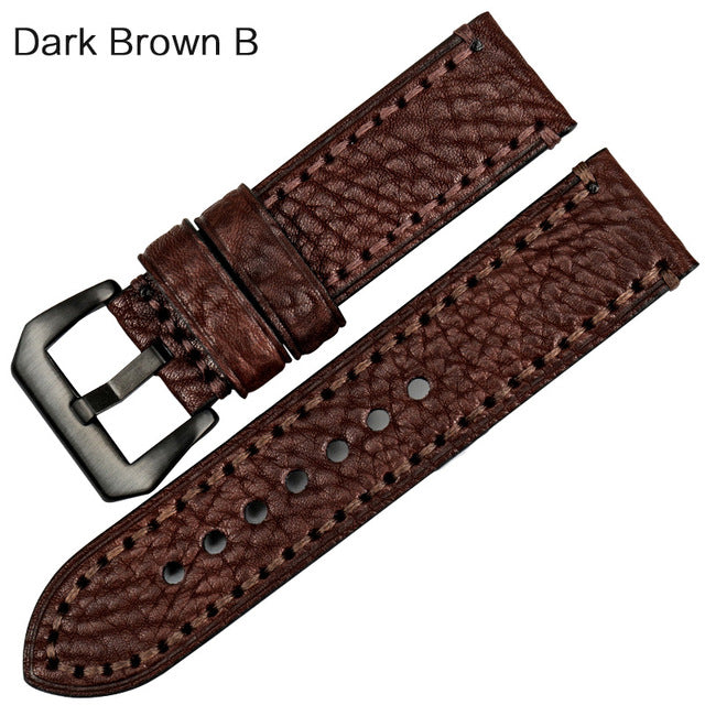 TANGY Italian Cow Leather Watch Strap for Pam Omega Rolex 20mm 22mm 24mm 26mm
