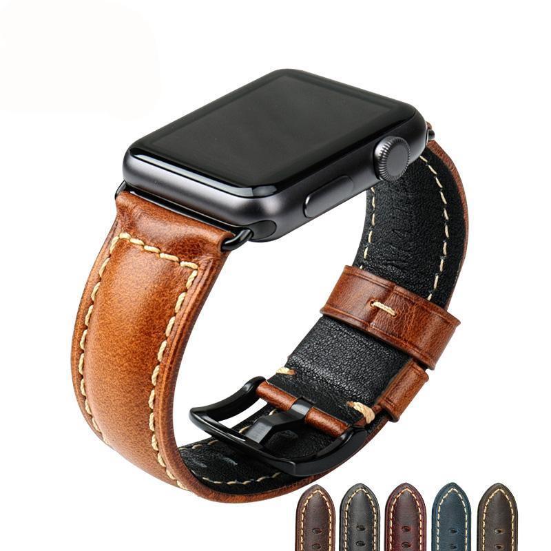 SOPHISTICATED Gentlemen Oiled Wax Leather Watch Strap for 38/40/42/44mm Apple Watch 4 3 2 1
