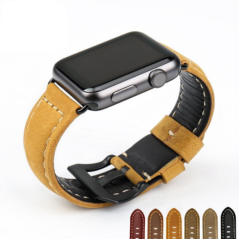 BUMBLEBEE Genuine Leather Watch Band for 38/40/42/44mm Apple Watch 4 3 2 1