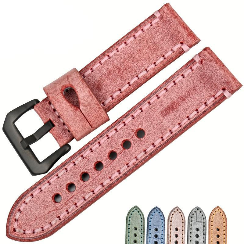 PASTEL 22mm 24mm English Red Bridle Leather Watch Band Strap for Panerai Pam
