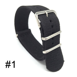 JOHN Army Style NATO Zulu Nylon Watch Band Strap 18mm 20mm 22mm 24mm