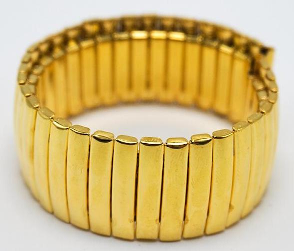 COIL Stretch-fit Elastic Stainless Steel Gold Watch Band Bracelet 12mm to 20mm