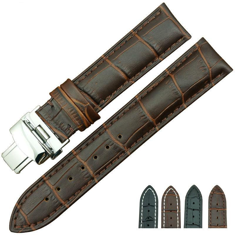 SEASONED VINE Genuine Leather Watch Strap Band With Butterfly Buckle 18mm 19mm 20mm 21mm 22mm