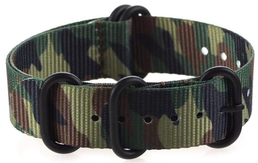 JUNGLE Camouflage Nylon ZULU Watch Band 18mm 20mm 22mm Strap with 5 Rings Black Buckle