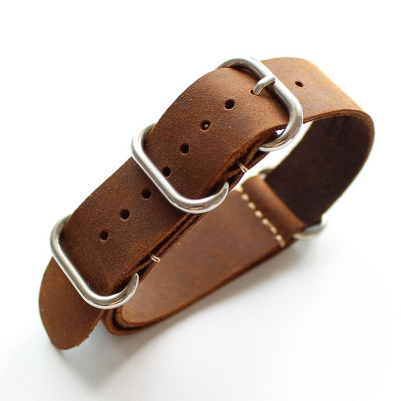 MILITARY Genuine Leather NATO ZULU Watch Strap Band 18mm 20mm 22mm 24mm 26mm