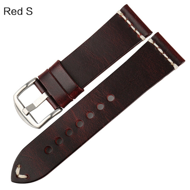 MACH BloodLine Vintage Oiled Leather Watch Strap Band 20mm 22mm 24mm 6 Colors