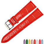 MABELLINE Glossy Red Genuine Leather Watch Strap Band 12mm to 22mm 8 Colors