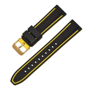GOODYEAR Silicone Diver Watch 6 Band Strap Colors 20mm to 26mm S/B/G Buckle