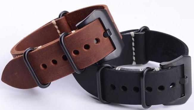 BUCKING Seasoned Style Calf Leather Zulu NATO Watch Band Strap 20mm 22mm 24mm