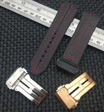 SCHUMACHER Leather Stitched Rubber Silicone Watch Strap Band for Hublot Big Bang