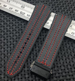 SCHUMACHER Leather Red Stitched Rubber Watch Strap Band Hublot Big Bang Fusion 25x19mm
