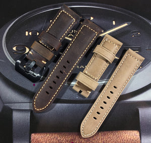 INFINITY Retro 24mm Vintage Italy Calf Leather Watch Band Strap For Panerai PAM